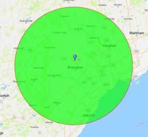 Brampton Paving Service Map