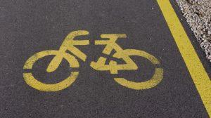 Yello marking on blacktop asphalt on the roadway