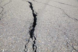 cracked road on asphalt